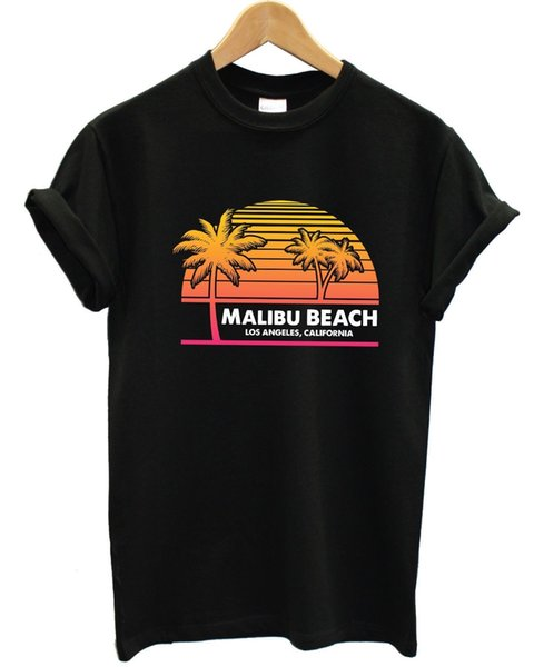 Malibu Beach, Los Angeles, California T Shirt Surf Palm Tree Retro 90s Men Women Free shipping new fashion 100% Cotton For Tee cheap