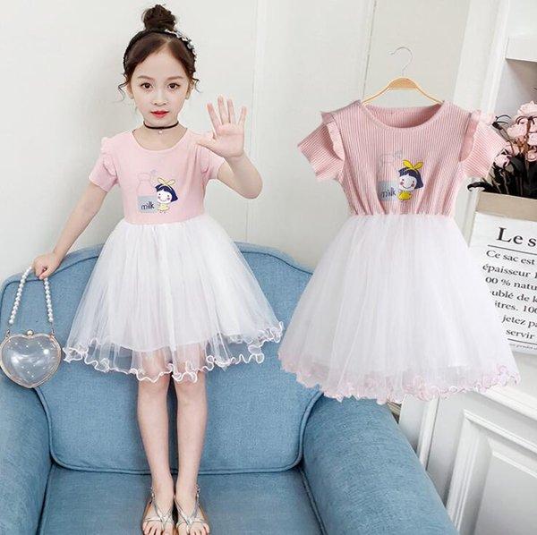 6 Unids / lote Ropa para niños Vestido de algodón puro con manga de hoja de loto de volantes de 2 colores Vestido de princesa linda