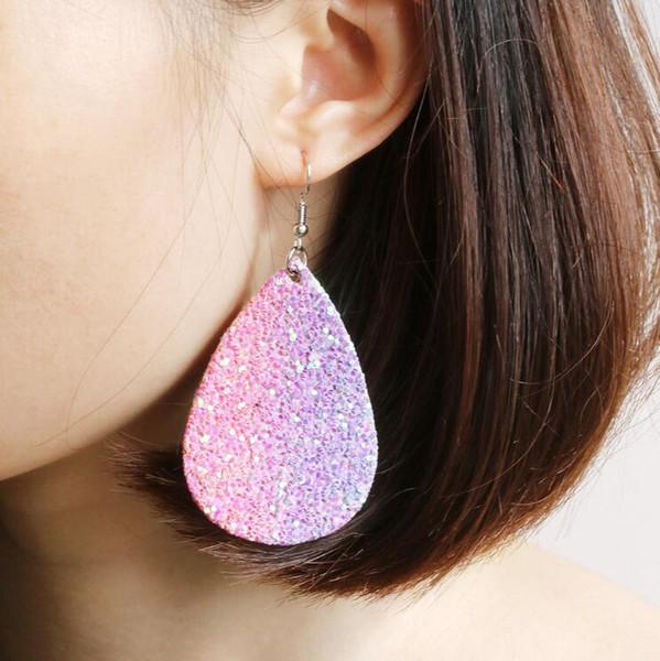 wholesale sequin pu leather drop earrings bling teardrop shape dangle designer earrings luxury designer jewelry women earrings a0135