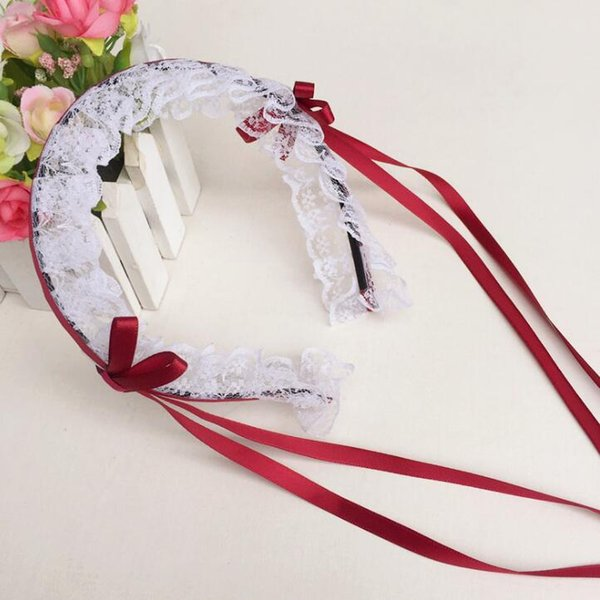 lolita girls lace ribbon tassels headband christmas hair hoop cosplay dress up anime waitress maid devil hairband cosplay prop