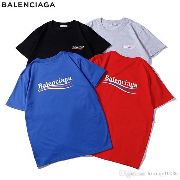 19SS moda callejera ola cola cola cuello redondo camiseta suelta algodón ulzzang camiseta de manga corta camiseta de París camiseta de fondo