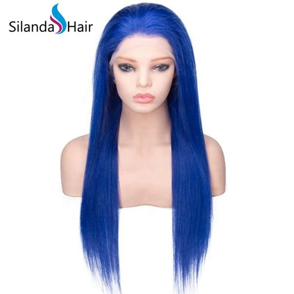 Silanda Hair Big Discount pre Dyed Blue Brazilian Remy Human Hair Lace Front Full LaceWigs Silky Straight Free Shipping