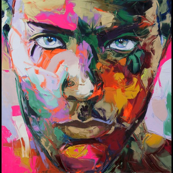 Francoise Nielly Palette Knife Impression Home Artworks Modern Portrait Handmade Oil Painting on Canvas Concave and Convex Texture Face191