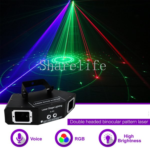 Sharelife 4 Lens RGB Full Color Pattern DMX Beam Network Laser Light Home Gig Party DJ Stage Lighting Sound Auto A-X4
