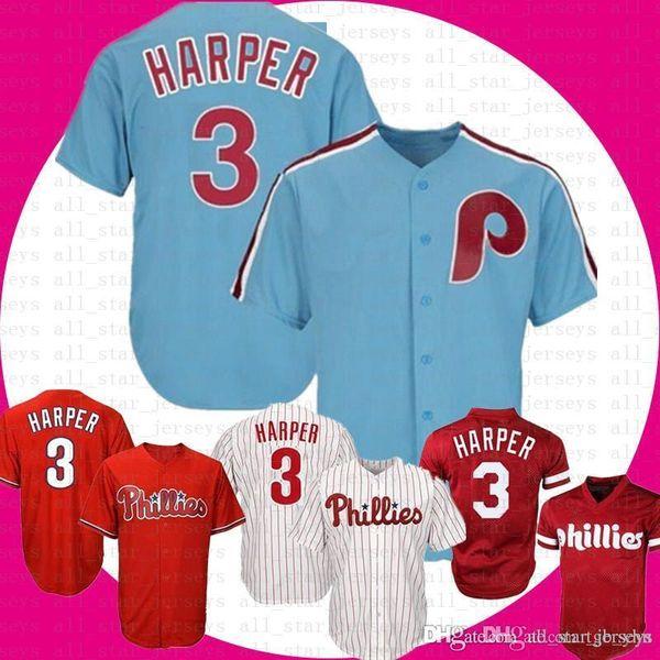 Adulte Philadelphia 3 Bryce HarperPhillies Base Cool Jersey Majestic Alternate Base Cool Bryce Harper Baseball Maillots Livraison Gratuite