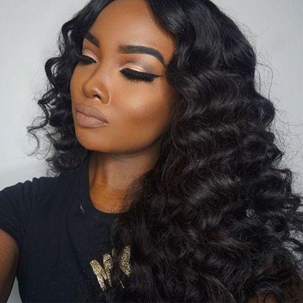موجة عميقة الرباط الجبهة الباروكات الهندي غير المجهزة الشعر الإنسان ديب الضفيرة الرباط الباروكات الكامل للمرأة السوداء 8-28inch G-EASY