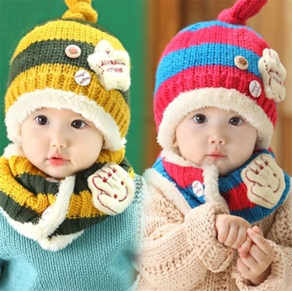 New Little Palm Star Baby Winter Knitted Beanie Hat And Scarf Set Toddler Kids Warm Balaclava Cap Outdoor Skiing Sports Scarf Sets