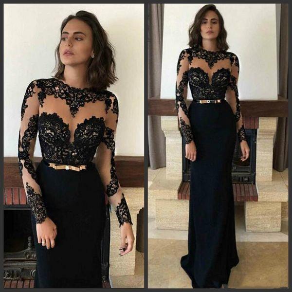 Schwarz Sexy Spitze Abendkleider Illusion Long Sleeves 2019 Fashion Formal Arabisch Muslimischen Abendkleid Bodenlangen Frauen Party Kleider