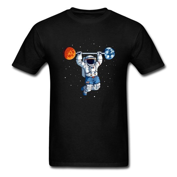 Workout T Shirts Spaceman Weight Lift Oversized Men T-Shirt 100% Cotton Adult Tops Earth Astronaut Print Novelty Clothes