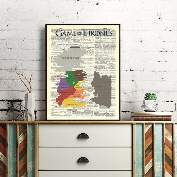 Game Of Thrones Vintage Map Lena Headey Kit Harington Canvas Painting Wall Picture Poster And Print Decorative Home Decor
