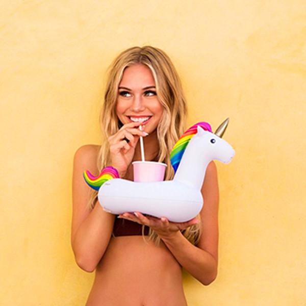 Gonfiabile Unicorno Flamingo Bevande Cup Holder Pool Galleggianti Bar Coasters Galleggianti Dispositivi Bambini Bagno giocattolo 100pcs