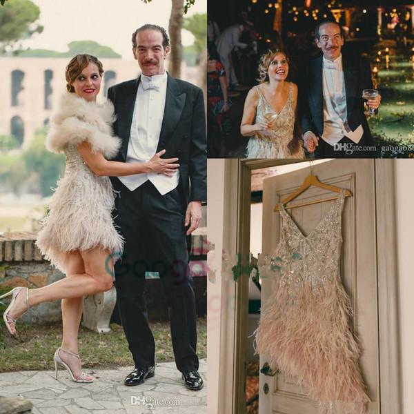 Vestidos de novia cortos de la vendimia de Great Gatsby de la década de 1920 Vestidos de novia modestos de Jenny Packham con cuello en V Pluma de cristal brillante hasta la rodilla 320