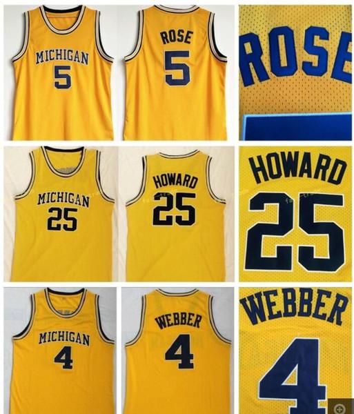 embroidery Mens Michigan Wolverines 5#Jalen Rose Jersey 25 Dwight Howard Jersey 4 Chris Webber University College Basketball Jerseys hot