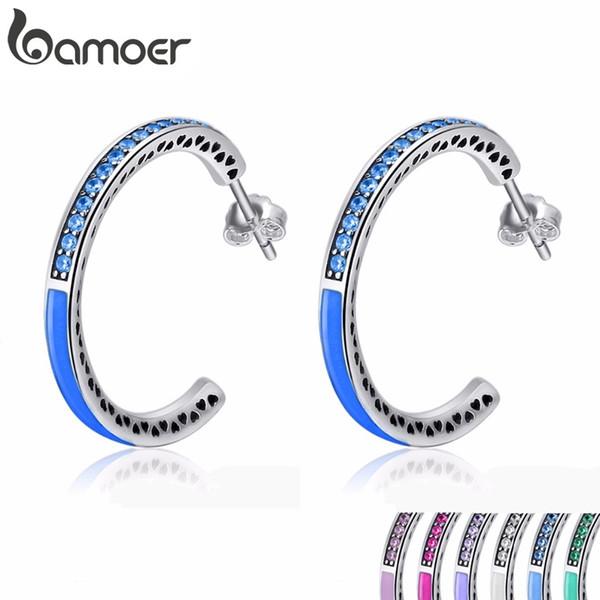 Bamoer 925 Sterling Silver Radiant Hearts 7 Color Enamel & Clear Hoop Earrings For Women Sterling Silver Jewelry Bijoux Sce208 Y19062703