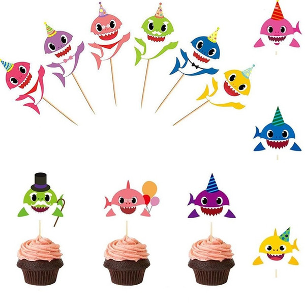 Requin Gâteau Carte Animal Cake Toppers 6pcs / set Cartoon Cupcake insère Carte Anniversaire Bébé Requin Cadeau Fête D'anniversaire Décoration 4820