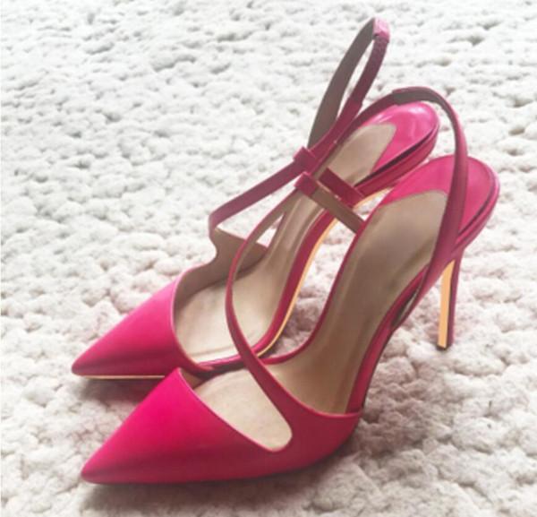 2019 Novo super-fino calcanhar apontou sapatos de salto alto Preto Rosa laca vermelha strap-on único sapato 10 cm tamanho grande 44 discoteca partido dança trabalho