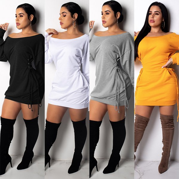 Queda bandage dress mulheres marca barra pescoço manga longa bandage dress fora do ombro cordão elegante night party dress vestidos ljja3109