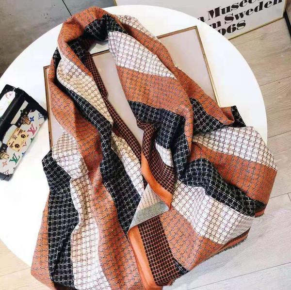 2020 нового бренд осень зима кашемир шарф теплого H письмо дизайн кашемир качество SCARVE топ цвет мужчины женщина Лоскутный плед w32-8