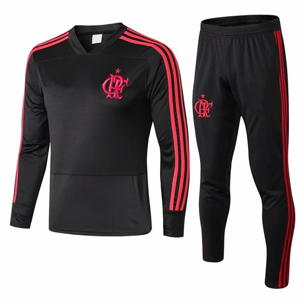 Best 2019 GABRIEL B Soccer Sweatershirt Long Pants CRF Red Football Tracksuit DIEGO Training Top Men's Black V Collar Sports Suit