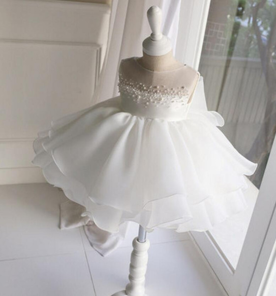 White Beautiful Girls Dress For Wedding Flower Dresses Jewel Organza Tea-Length Lovely Princess Girls Pageant Gown Party Gowns With Crystals