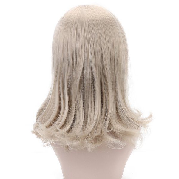 Long Wavy Lolita Wigs with Bangs Champagne Adult Wigs Synthetic Hair 19'' Costume Hair Wig for White Women Hollywood OEM HP-007