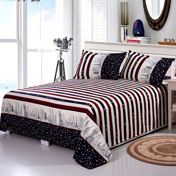 Bed Sheet+2Pcs Cases 2019 Decor Home Textile Bedding Coverlet Flat Sheet Flower Bed Cover Sheet Soft Warm Bed sheets