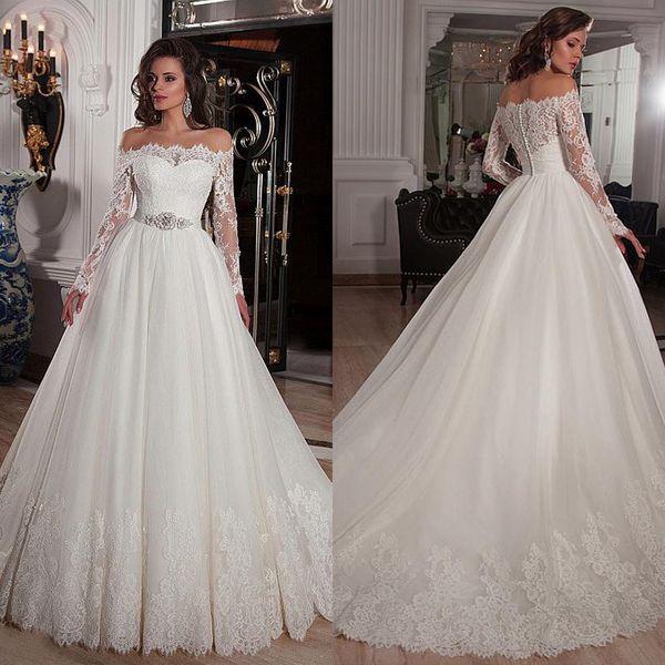 Элегантный Тюль Off-плечу декольте бальное платье свадебные платья с кружевными аппликациями Gowns Стразы Бисероплетение Пояс Люкс