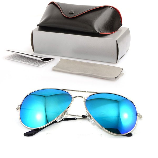 10PCS High Quality Glass Lens Sunglasses Color lens Mirror sunglasses pilot men Sun glasses Brand Designer Woman glasses with cases and boxs