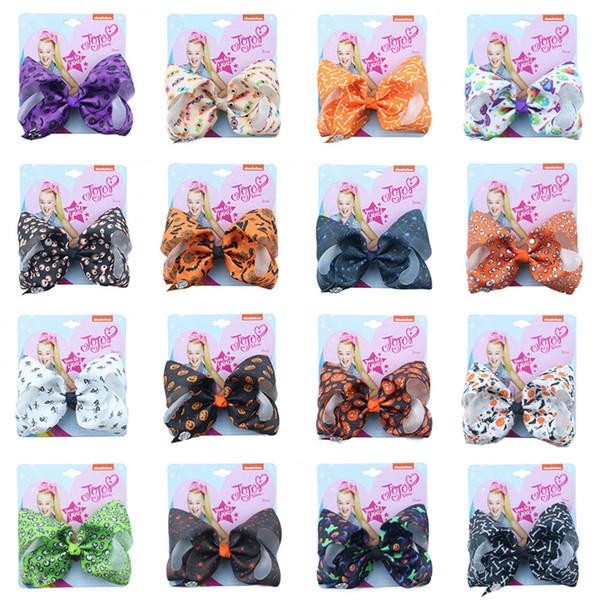 Estilos de Halloween Jojo Siwa Arcos con clip accesorios para el cabello para niñas 5 pulgadas jojo siwa pinzas para el cabello arcos Lazo para el cabello al por mayor En stock FSS352