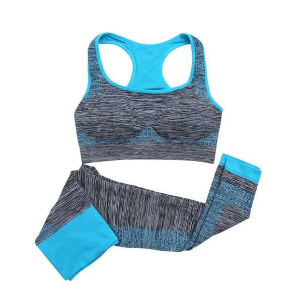 Traje deportivo para mujer Sujetador cómodo para mujer + Pantalones Ropa de entrenamiento para ejercicios Gimnasio Deportes Running Girls Leggings delgados + Tops