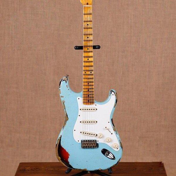 10S main Custom Shop John Cruz Limited Edition Masterbuilt lourd Relic Blue Angel Plus de 3 Tone Sunburst ST Guitare électrique Vintage Tuners