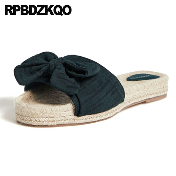 sandals bow cute summer big size straw plain high quality designer slides women 2018 slippers beach chinese plus shoes luxury