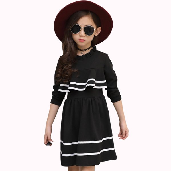 Dresses For Girls Princess Kids Dress Ruffles Autumn Girls Dress Long Sleeves Spring Casual Teenage Girl Costume 6 8 12 Years J190506