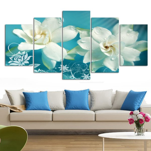5 Pcs bleu fleurs d'orchidées Imprimer décor à la maison moderne wall art picture Peinture à l'huile sur toile pour le salon (No Frame)