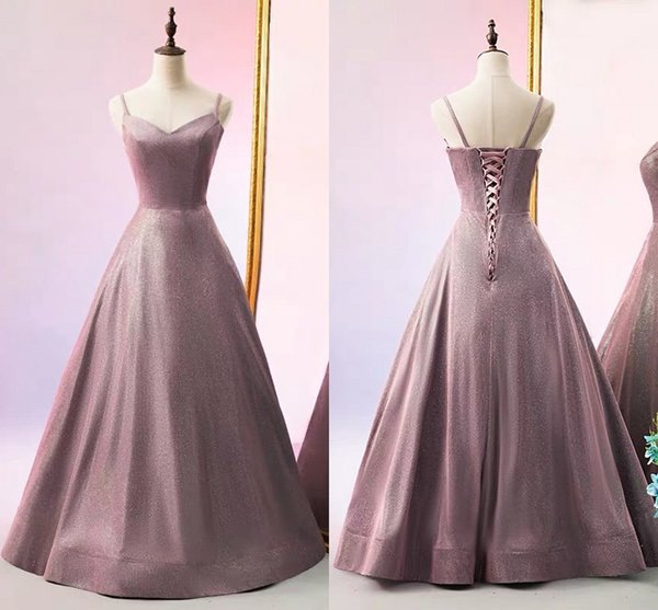 Unique Fabric Dusty Rose Cheap Bridesmaid Dresses with Straps A line Princess Corset Wedding Guest Prom Formal party Dress Wholesale Price