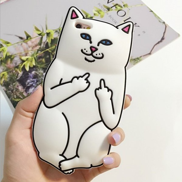 3D Cartoon phone cases for iphone X XR XS Max 8 7 6 6s plus 5s Silicone Rubber Cover middle Finger Cat designer Phone Shell Skin GSZ030