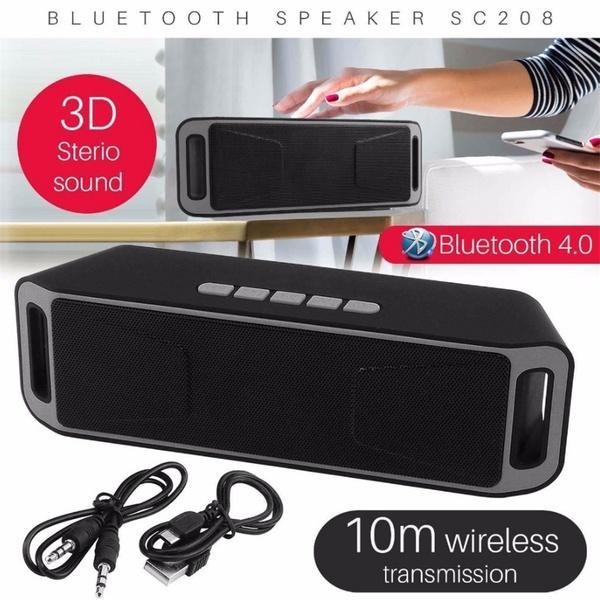 2019 Yeni SC208 Kablosuz Bluetooth Hoparlör Cep Telefonu Hands-Free Subwoofer Kart Çift Hoparlör Taşınabilir Ses Ve Video Ekipmanları pk i7