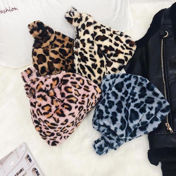 Women Faux Fur Leopard Print Shoulder Handbags Casual Travel Bags Purse Handbags Women Small Bags Bolsa Feminina