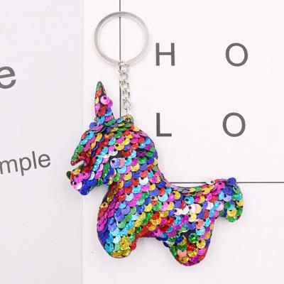 Lentejuela Unicornio Llavero Glitter animal Llavero Bolsos Colgantes Encantos Decoración Llavero del coche Accesorios del teléfono Niños Fiesta Regalos