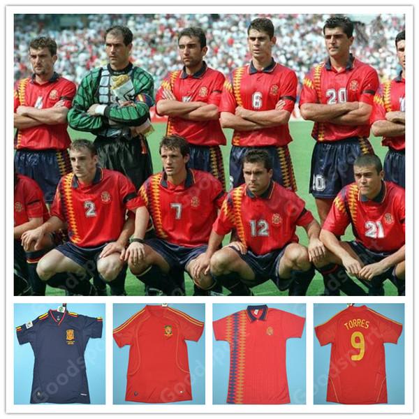 1994 2010 di calcio della Spagna Jersey retrò calcio shirt Vintage Classic antica uniforme TORRES XAVI A.INESTA DAVID VILLA 1994 retrò maglia Spani
