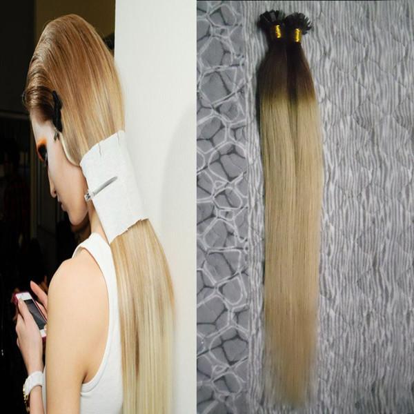 Prego Ponta Plana Pré-Ligado Queratina Cola Remy Extensões de Cabelo Humano Natural 100g cabelo humano virgem Queratina Pré Bonded ombre cabelo humano feixes