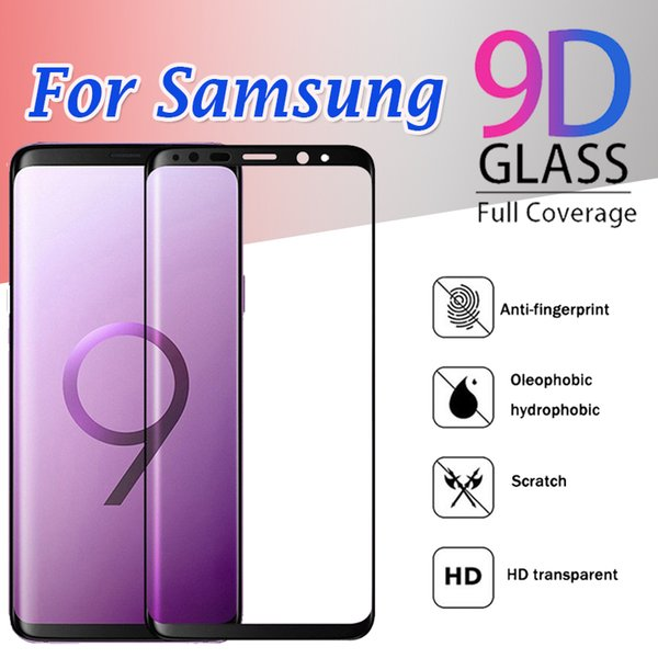 9d curvo vidro temperado cobertura completa protetor de tela de cobertura flim para samsung galaxy s10 e s9 mais s8 s7 s6 borda nota 9 8 huawei p30 pro
