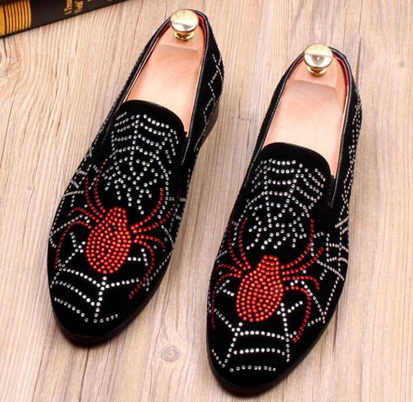 New arrival Fashion Men Rhinestone spider shoes Man's Formal Dress Shoes For Groom Homecoming Wedding Christmas gift