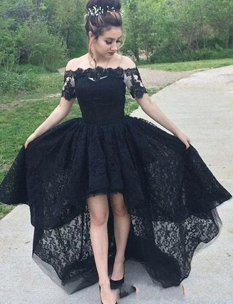 2020 Charming Black Lace Prom Dress High Low Off The Shoulder Short Sleeve  Full Lace Formal Graduation School Party Dress Evening Dresses Wholesale