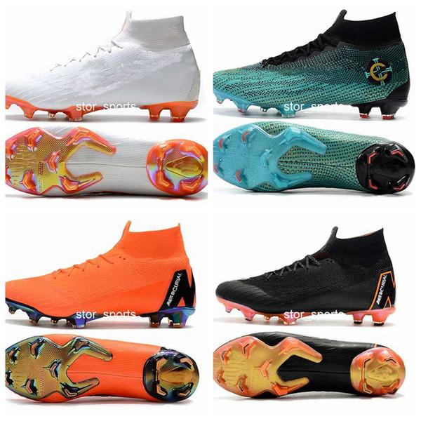 Botas de fútbol 2018 nike Mercurial Superfly VI 360 Elite FG Fly Knit para niños hombres Zapatillas de fútbol Cr7 Botas de fútbol tallas Eur 35-45