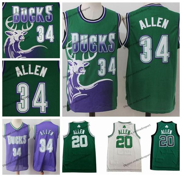 Vintage Erkek # 34 Milwaukee Ray Allen Bucks Basketbol Formaları Ucuz Yeşil Mor # 20 Boston Ray Allen Bucks Dikişli Gömlek S-XXL