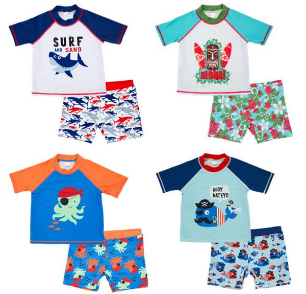 Ins fashion hot selling Boy kids two piece Set Swimsuit summer Boy cute Flower Sharlk Print Swimming clothes 4 styles free ship B11