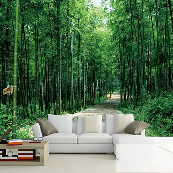 Mural de paisajes naturales del bosque de bambú de estilo chino como decoración para el hogar moderna Fondo de pantalla mural 3D personalizado Salón TV / Fondo de sofá