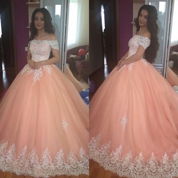 Robes de Quinceanera à la pêche 2019 appliques d'épaule Puffy Corset Retour balle robe princesse 16 ans filles robes de soirée de bal personnalisé