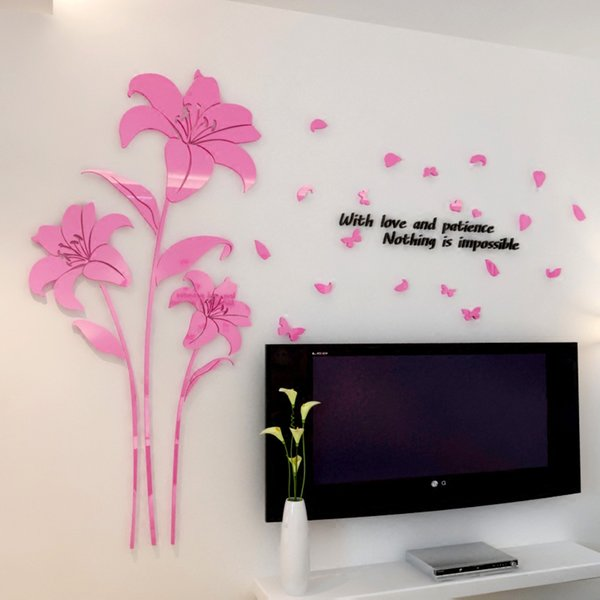Hot sale Lily flower Acrylic mirror crystal wall stickers living room DIY Art wall decor Bedroom 3d decoration